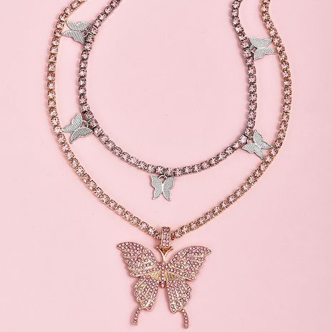 fashion pink diamond butterfly pendant women's necklace NHAJ252341's discount tags
