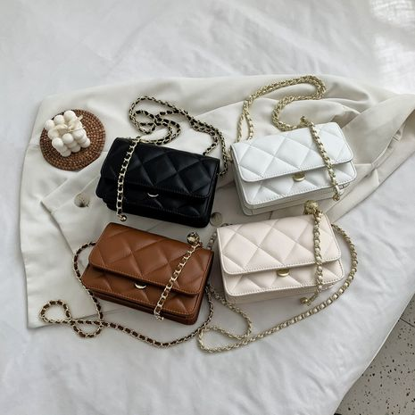 fashion rhombus chain one-shoulder square bag new  all-match solid color messenger bag wholesale NHLH252345's discount tags