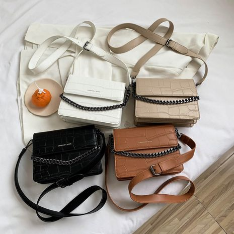 new fashion hand-held single-shoulder messenger Korean stone pattern chain small square bag wholesale NHLH252375's discount tags