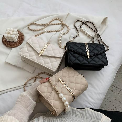new  all-match chain pearl shoulder bag Korean fashion rhombus messenger small square bag wholesale NHLH252385's discount tags