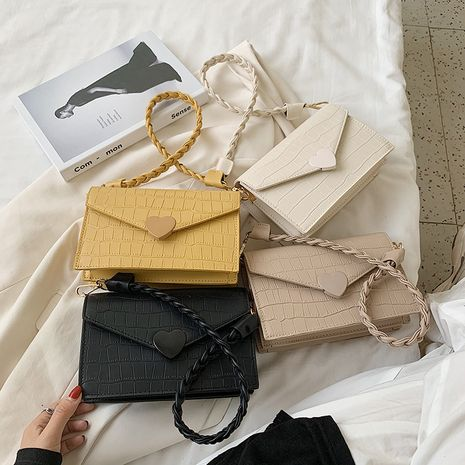 new summer fashion crocodile pattern woven one-shoulder solid color heart button messenger square bag wholesale NHLH252386's discount tags