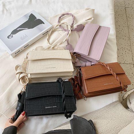 new  Korean fashion solid color woven shoulder crocodile pattern messenger bag wholesale NHLH252390's discount tags