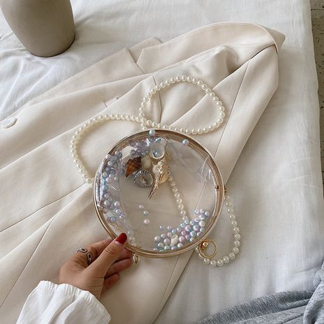 transparent bag new Korean shoulder messenger fashion all-match chain small round bag wholesale NHLH252437's discount tags