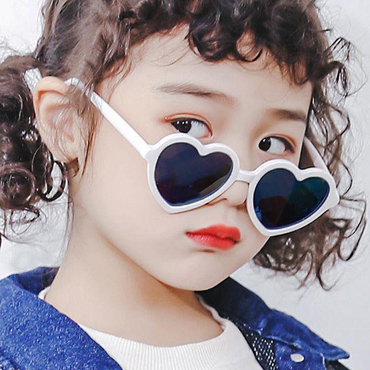 Pink children's love sunglasses fashion tide boys and girls cute sunglasses peach heart sunglasses NHKD227124