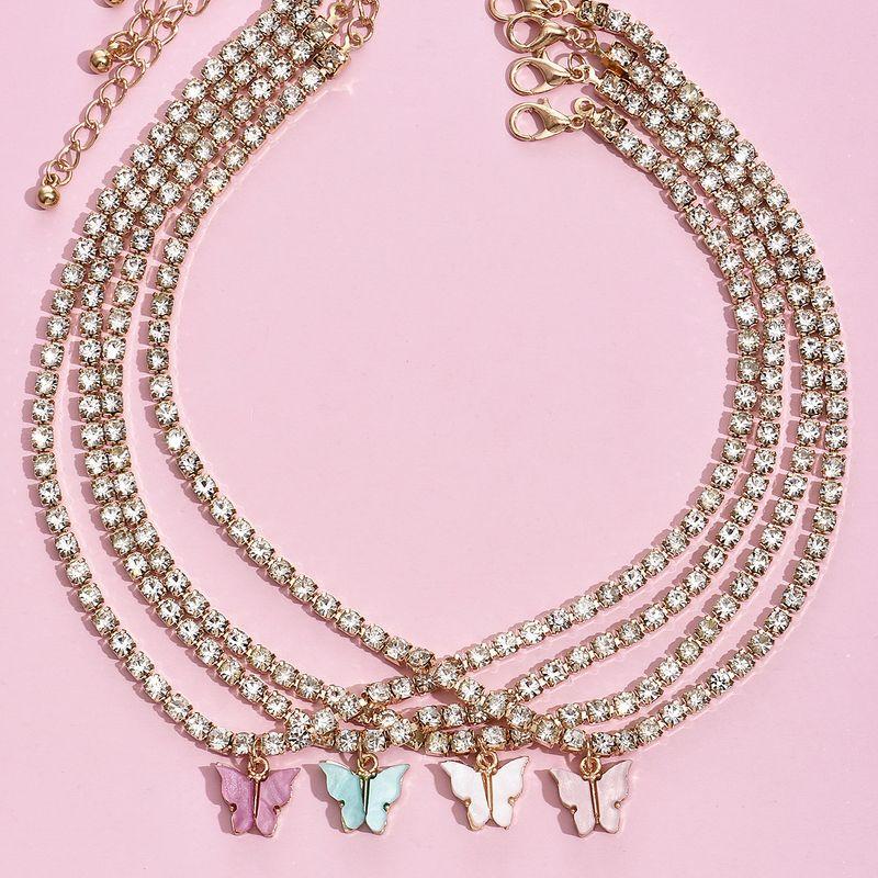 Simple fashion chain big butterfly full diamond necklace combination popular fashion jewelry wholesale nihaojewelry NHAJ253253
