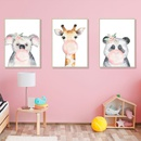 Cartoon Forest Animal Watercolor Photo Frame Triptych  Wall Selfadhesive Painting  NHAF260333