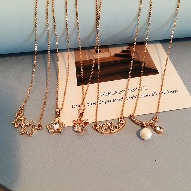 Rose Gold Love Letter Korean Swan Fivepointed Star  Necklace  NHRN260341