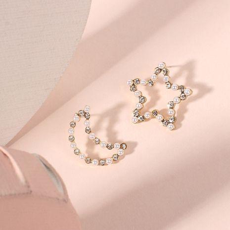 new fashion small Korean girls asymmetric wild pearl earrings wholesale NHRN260356's discount tags