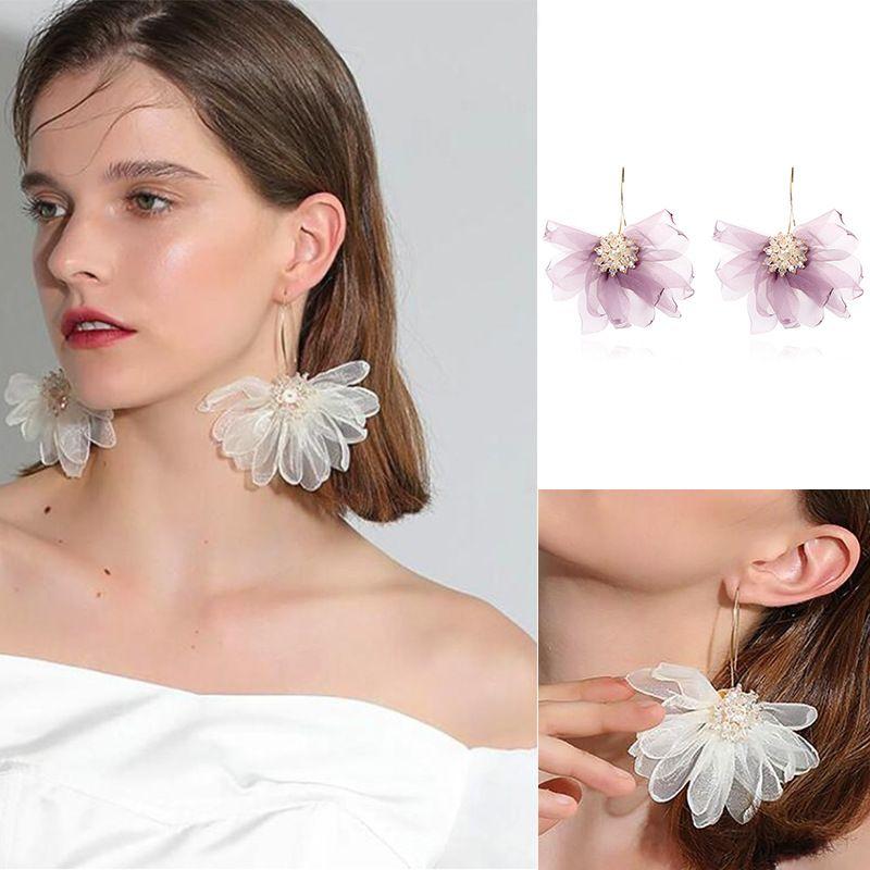 Fashion new exaggerated lace flower cloth retro ethnic crystal purple flower earrings NHRN260368