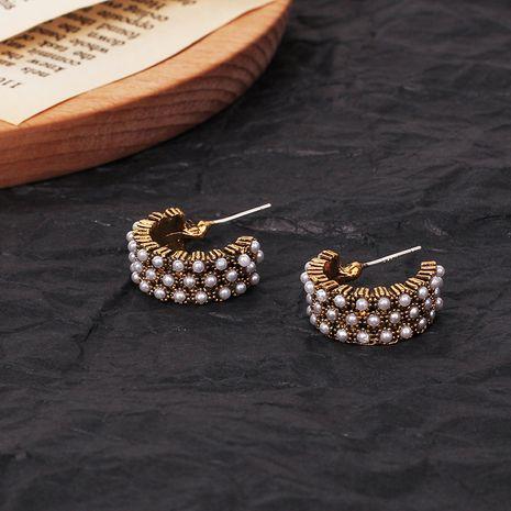 Fashion retro wild Korean Bohemia style s925 silver needle pearl earrings  NHRN260373's discount tags