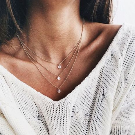 hot-selling fashion multi-layer rhinestone new fashion wild short women's necklace NHRN260382's discount tags