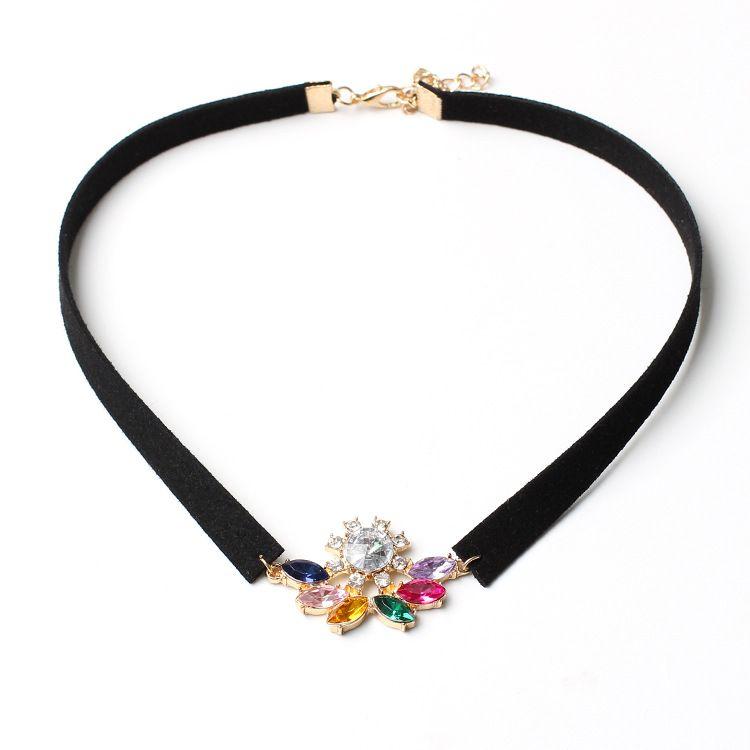 Korean crystal fanshaped rhinestones velvet choker womens fashion neckband handmade jewelry NHRN260386