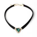 Korean new velvet triangle crystal Korea velvet necklace for women NHRN260387