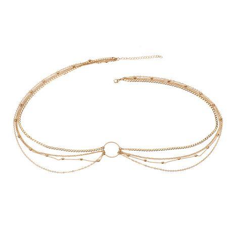 chaîne de pantalon de mode chaîne de taille de chaîne multicouche en métal cercle géométrique tissé à la main NHRN260390's discount tags