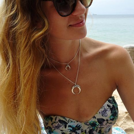 Hot selling fashion retro multi-layer crescent pendant necklace  NHRN260396's discount tags