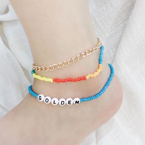 nouvelle mode empilable multicouche tissé à la main perles de riz lettre ensemble de cheville NHRN260402's discount tags