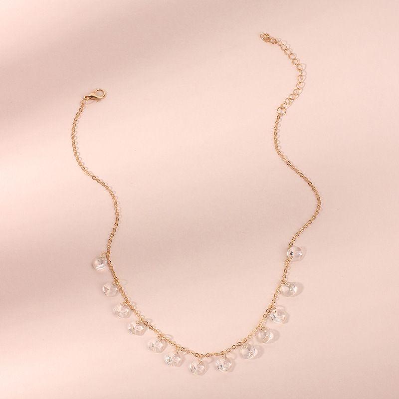 Hot selling fashion creative fashion glass diamond necklace  NHRN260410