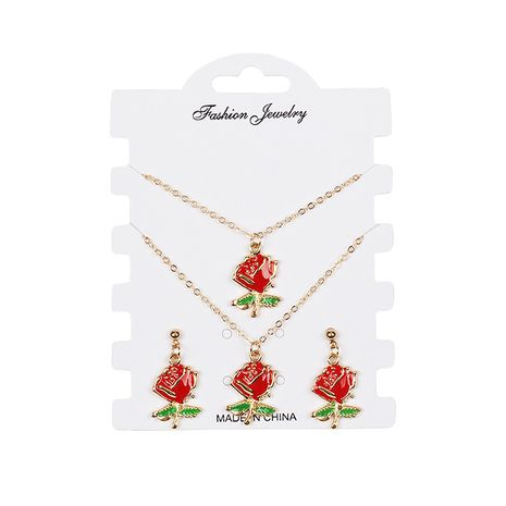 Hot-selling rose earrings bracelet necklace creative set NHRN260413's discount tags