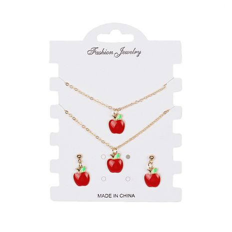 Hot-selling  creative small red apple necklace set NHRN260414's discount tags