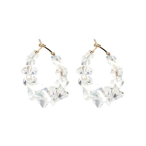 Korea S925 silver needle natural white crystal exaggerated earring for women NHRN260418's discount tags