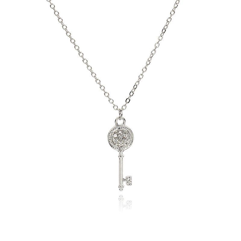 Hot selling fashion allmatch temperament luxury diamond key pendant necklace NHRN260422