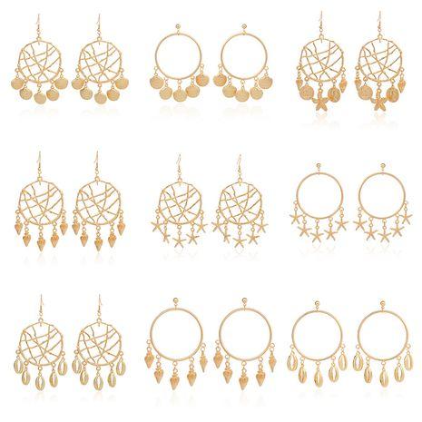 Mode neue kleine Seestern Anhänger geometrische Kreis Muschelschale Legierung Ohrringe NHRN260430's discount tags