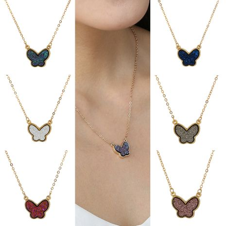 Hot-selling creative multi-color crystal cluster butterfly  fashion wild necklace NHAN260444's discount tags
