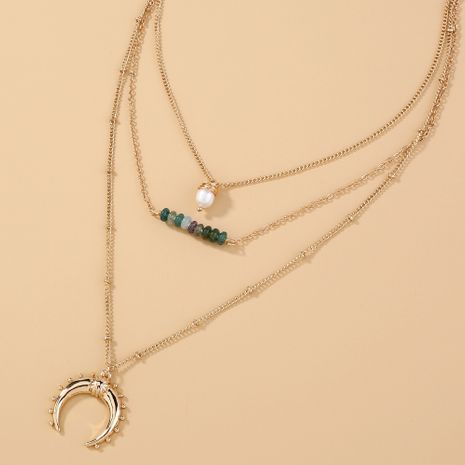 Hot selling fashion green natural stone multi-layered crescent pendant necklace  NHAN260445's discount tags
