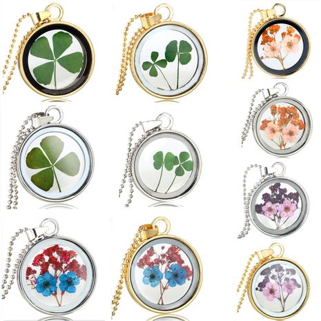 four-leaf clover  simple wild round dried flower glass necklace  NHAN260454's discount tags
