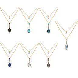 Heiß verkaufte goldene Diamant Anhänger Mode Doppelschicht mehrfarbige Kristall Cluster Liebe Halskette NHAN260455