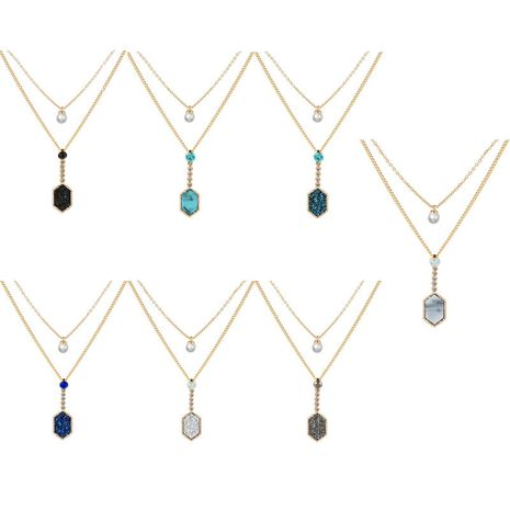 Hot-selling golden diamond pendant fashion double layer multicolor crystal cluster love necklace   NHAN260455's discount tags