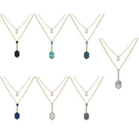 Vente chaude pendentif en diamant doré mode double couche collier d'amour de cluster de cristal multicolore NHAN260455's discount tags