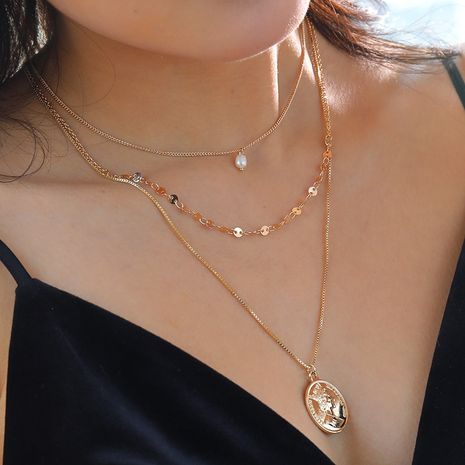 Hot-selling ladies multi-layer necklace natural freshwater pearl pendant necklace NHAN260456's discount tags
