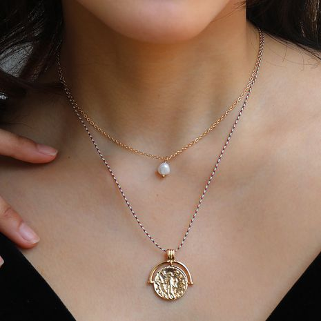 Hot selling fashion floral pearl pendant multi-layer necklace NHAN260458's discount tags