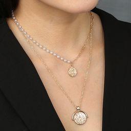 Hot Selling Mode Retro runde Marke römische Porträt mehrschichtige Halskette NHAN260460