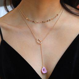 Hot Selling Mode Doppelschicht Halskette rosa Harz geformt goldenen Ring Anhänger Halskette NHAN260465