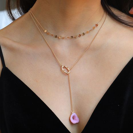 Hot selling fashion double-layer necklace pink resin shaped golden ring pendant necklace  NHAN260465's discount tags