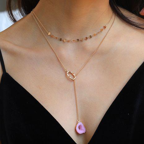 Collier à double couche de mode de vente chaude collier pendentif anneau doré en forme de résine rose NHAN260465's discount tags