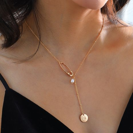 Hot selling fashion pearl simple and versatile 26 letter pendant necklace  NHAN260466's discount tags
