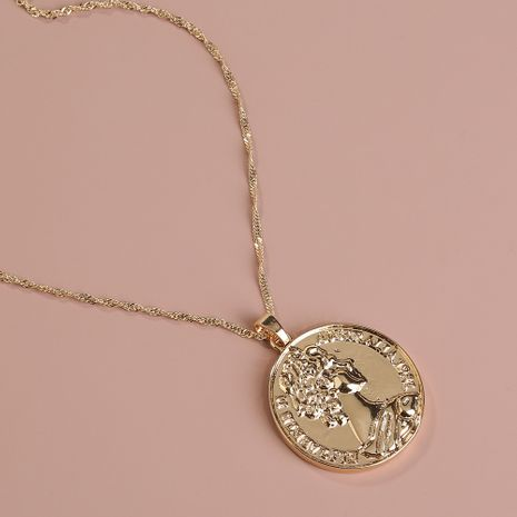 Hot selling fashion portrait embossed silver coin round pendant single-layer necklace wholesale NHAN260468's discount tags