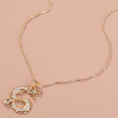 Hot selling fashion classic diamond dragon totem pendant necklace  NHAN260469's discount tags