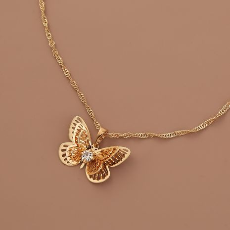 Hot selling fashion hollow metal multilayer three-dimensional butterfly pendant necklace NHAN260479's discount tags