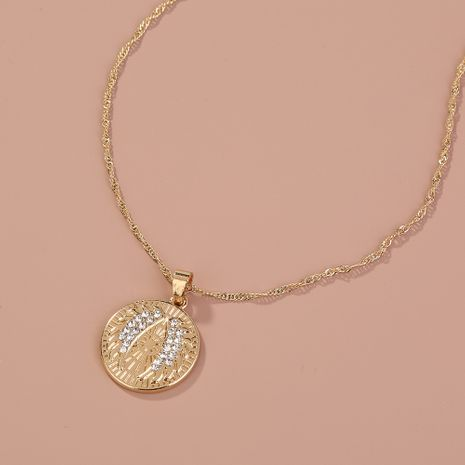 Hot-selling necklace round silver coin micro diamond angel wing pendant necklace NHAN260480's discount tags