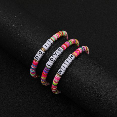 Niche soft clay simple bohemian beach style letter bracelet set jewelry NHLL260496's discount tags