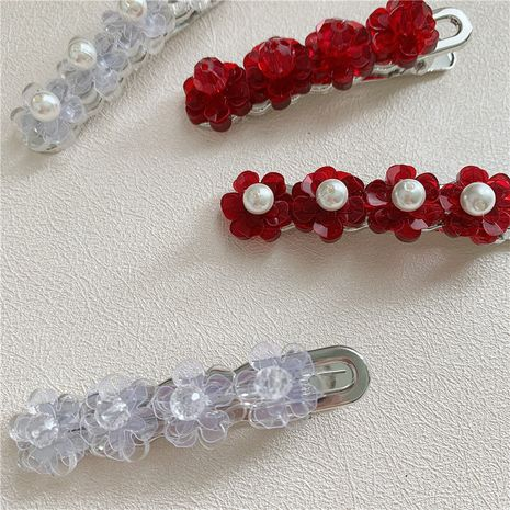 Vente chaude mode perle cristal fleur pince à cheveux clip mot clip NHYQ260515's discount tags