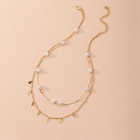 Hot selling fashion multi-layer natural pearl shell necklace wholesale NHAI260545's discount tags
