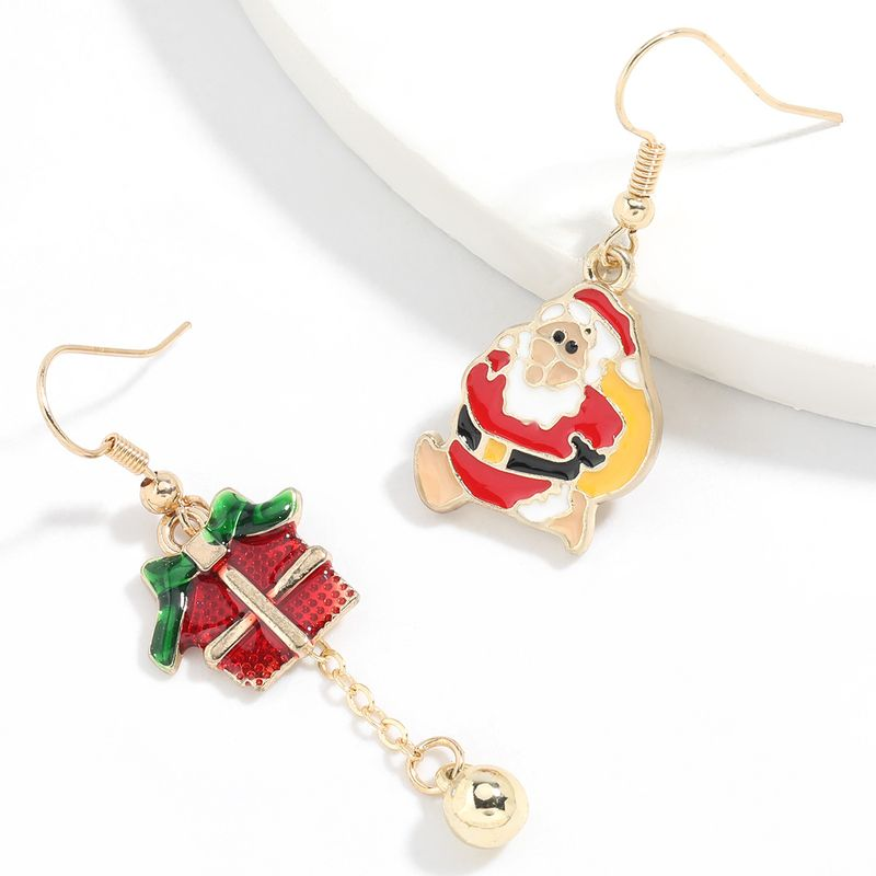 Hot selling fashion alloy drip oil Santa gift box earrings NHJE260547
