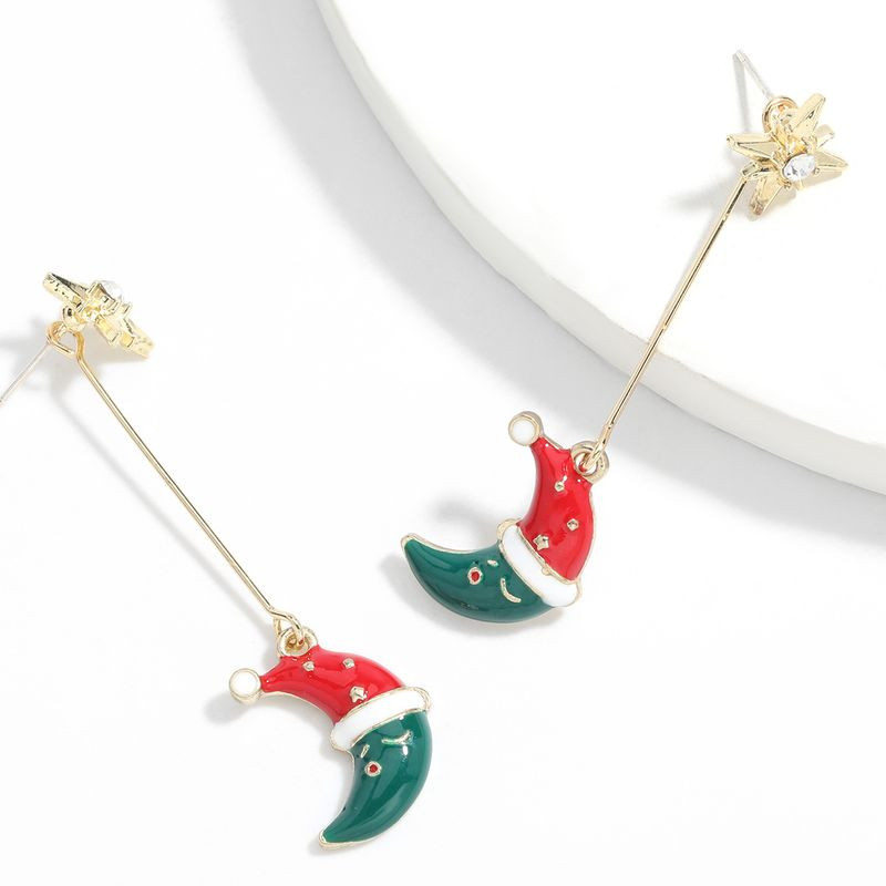 Hot selling fashion alloy dripping oil cute moon earrings wholesale NHJE260550