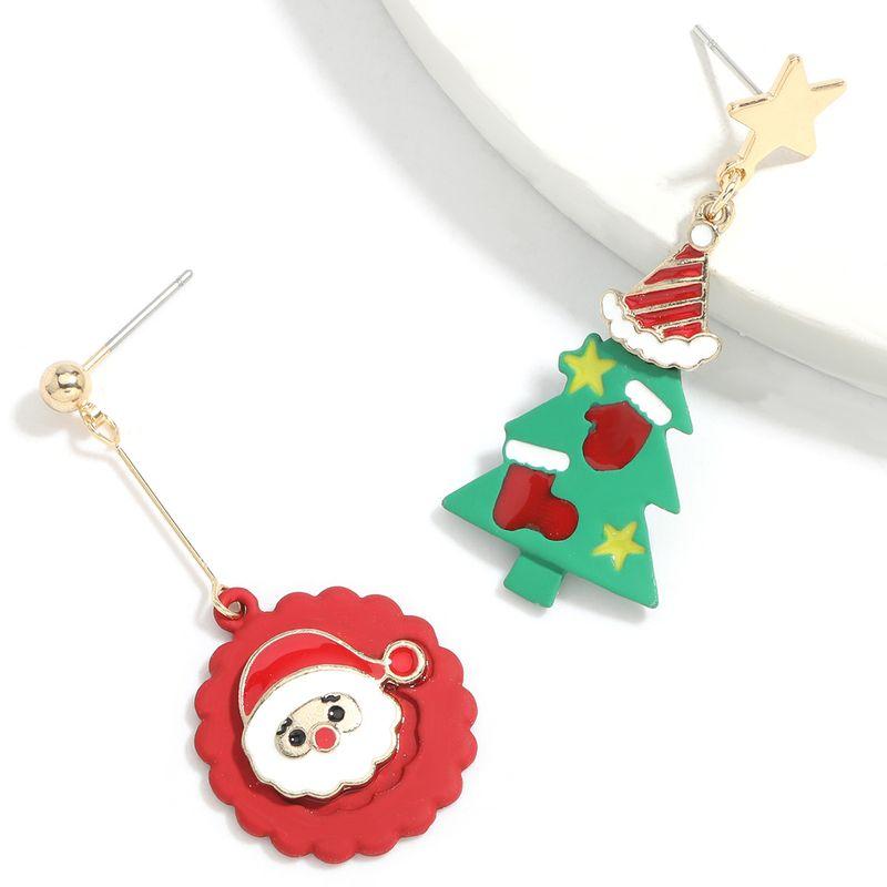 Hot selling fashion Santa Claus Christmas tree asymmetric earrings  NHJE260560