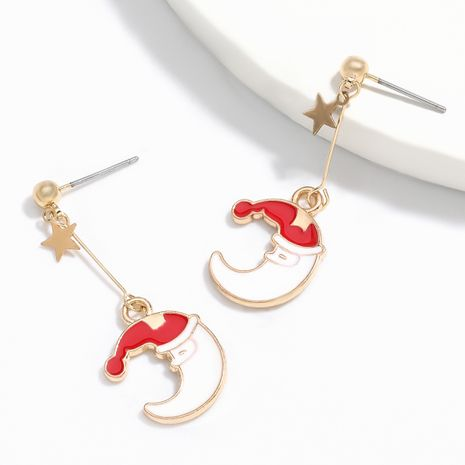 Hot selling fashion alloy oil dripping moon earrings wholesale NHJE260565's discount tags